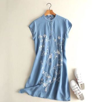 Tencel denim dress Artistic retro embroidery flowers bird short sleeve dress 2017 mori girl
