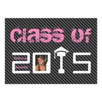 Class of 2015 Graduation black grey stripes pink photo invitation