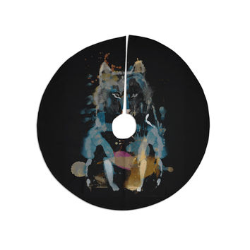 """Frederic Levy-Hadida """"Watercolor Foxy"""" Black Blue Watercolor Christmas Tree Skirt"""