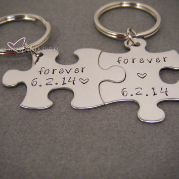Couple Keychains, Forever Keychains, Date Keychain, Wedding Gift, Wedding Date, Husband Wife Keychains, Stamped Keychains, Husband Wife Gift