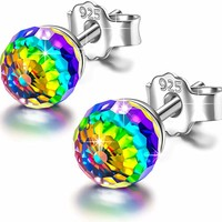 "Earrings Gifts Hypoallergenic 6mm Earrings""Over the Rainbow"" 925 Sterling Silver Stud Earrings for Women, Crystals from Valentines Anniversary Birthday Gifts for Girls"