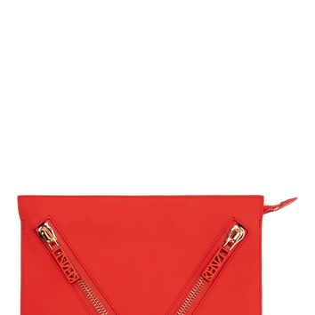 Kenzo Red Rubberized Leather Zip Pocket Clutch