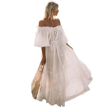 Women Maxi Dress Casual Summer Beach Dresses Plus Size Off Shoulder Bohemian Solid White Sexy Fashion Boho Dress