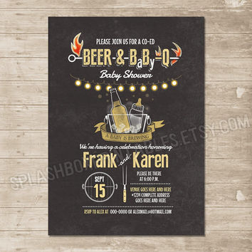Beer BabyQ co-ed couple Baby Shower BBQ chalkboard invitation - babyq barbecue grill brewing - boy girl gender neutral DIY printable invite