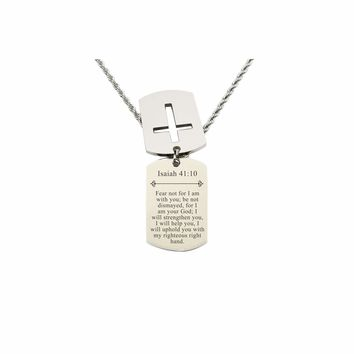 Mens Scripture Double Tag Necklace - Isaiah 41:10