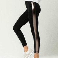 WHITE FAWN Side Stripe Womens Fleece Leggings