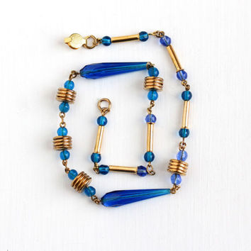 Vintage Art Deco Cobalt Blue Glass Beaded Necklace - 1930s Gold Brass Tone Geometric Round & Faceted Beads 16 Inch Unique Costume Jewelry