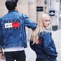 Tagre™ Tommy Hilfiger Woman Men Denim Cardigan Jacket Coat