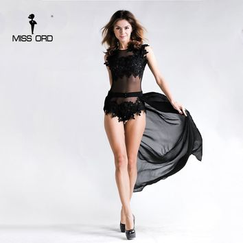 Sexy lace stitching thread empty waist shawl black color play suit