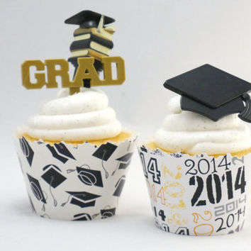 Graduation Cupcake toppers and ADJUSTABLE cupcake wrappers combo SW500