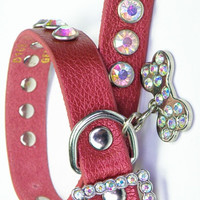 Red Leather Bling Collar