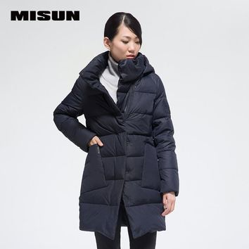 MISUN 2017 oblique placket stand collar medium-long thickening hooded coat straight womens winter jackets with pockets MSD-G527