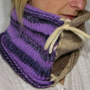 two tones knit neck warmer color block lilac purple beige knitted turtle neck cowl tube scarf fall winter fashion tagt team teamt