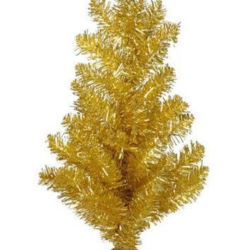 """Mini Tabletop Christmas Tree in Gold Tinsel - 14"""" Tall"""