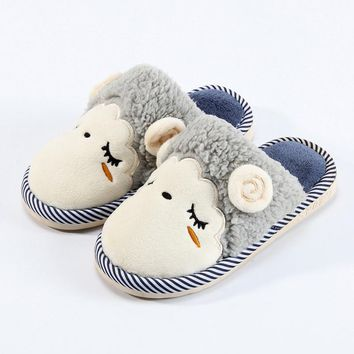 Boy Child Cotton Shoes Cute Home Slippers Kids Girls Indoor Slippers Velvet Warm Shoes Autumn/Winter Children Shoes