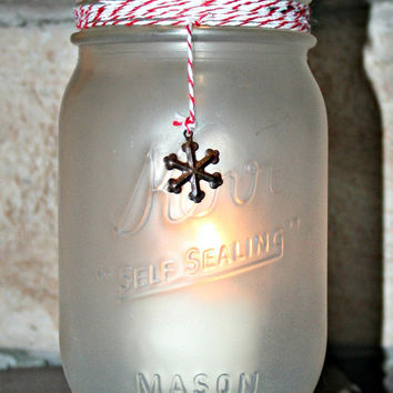 Home and Holiday Decor- Frosted, Painted, Mason Jar, Vase, Organization, Rustic, Christmas Decor, Christmas Lighting