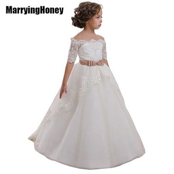 Sequined Lace Flower Girl Dress Bow Belt First Communion Dresses for Girls Party Kids Pageant Princess Gown vestido daminha robe