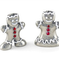 Pewter Gingerbread Couple Salt and Pepper Shaker Set