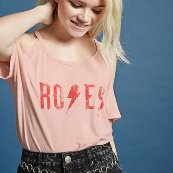 Roses Graphic Open-Shoulder Tee