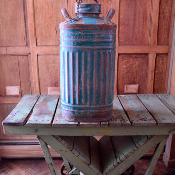 LARGE 10 Gallon Oil Can, Ellisco Large Metal Oil Can, Industrial Salvage Gas Can