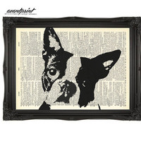 Very Mod Boston Terrier Original Artwork Print on an Unframed Upcycled Bookpage