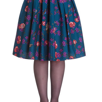 Wonderland Forest & Birds Print Midnight Blue Pleated Skirt
