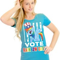 My Little Pony Vote Rainbow Dash President Hat Juniors Light Blue T-Shirt - My Little Pony - | TV Store Online