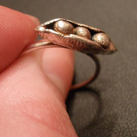 Pea Pod Ring in Fine and Sterling Silver by OddsAndEndsByKaley