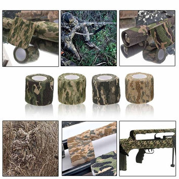 1 Roll Reusable Outdoor Military Camouflage Hunting Camping Cycling Wrap Elastic Stealth Tape 5CMx4.5M Camouflage Tape 4 Size = 1646028740