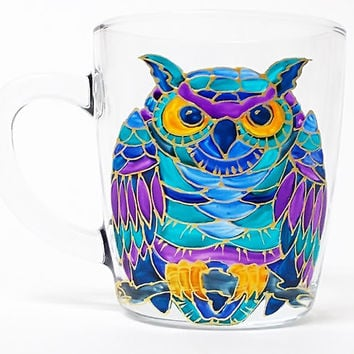 Owl Coffee Mug, Tea glass cup 11 1/4 oz, Hand Painted Colorful Mug- Turquoise, Blue, Purple, Birthday gift, Home decor