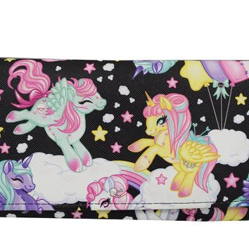 Liquor Brand Goth Loli Kawaii Rainbow Unicorns Pony Bi-Fold clutch Wallet