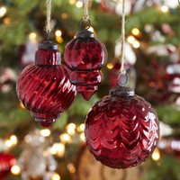 Eclectic Mercury Glass Ornaments - Red, Set of 3