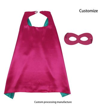 D.Q.Z 70*70 cm double-sided rose-cyan super hero girl cape with mask cosplay costume for kids cosplay costumes party supplies