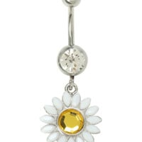 14G Steel Daisy Drop Navel Barbell