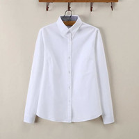 White Striped Turn-Down Collar Button Placket Long Sleeve Women's Shirt