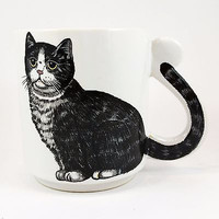 Gray Tabby Cat Coffee Mug Cup Vintage 8oz Tail Handle Kitty k348
