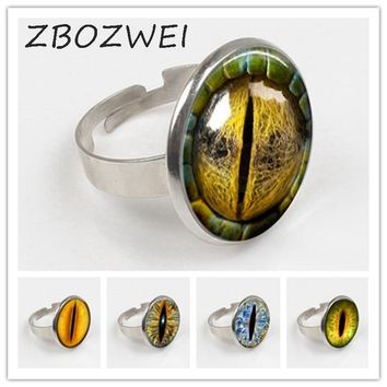 ZBOZWEI fashion Dragon Eye Ring personality cat eyes color art photo Charms for collars Eye glass dome Ring statement jewelry