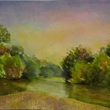 River landscape, riverside, watercolor landscape