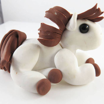 Polymer clay white horse