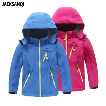 JACKSANQI Children's Winter Fleece Softshell Jackets Kids Sport Coats Outdoor Girl Boy Camping Hiking Trekking Windbreaker RA093