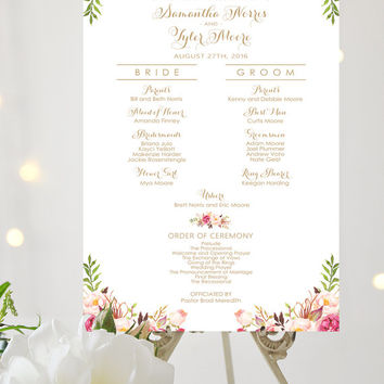 Wedding Program Sign | Bridal Party Poster | Various Sizes | Vintage | Antique Gold | Romantic Blooms | I Create and You Print