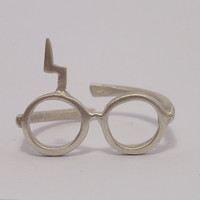 Harry Potter Lightning glasses Sterling silver ring.