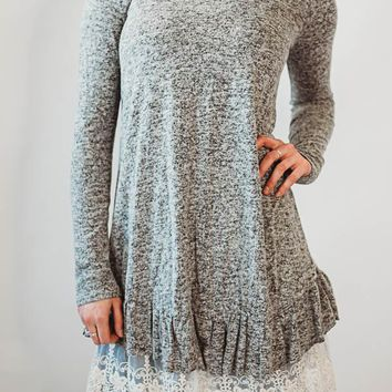 Lace Bottom Tunic - Grey