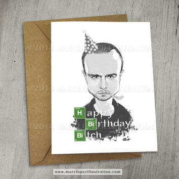 BREAKING BAD Birthday Card, Aaron Paul, Jesse Pinkman Caricature, Black and White, Gray Scale Greeting Card 5 x 6.5, 5 x 7 Kraft Envelope
