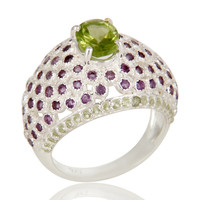 925 Sterling Silver Peridot And Amethyst Halo Style Dome Ring