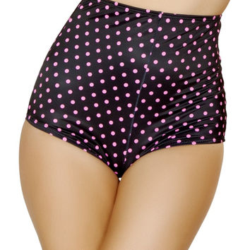 Black and Pink Pinup Style High-Waisted Shorts