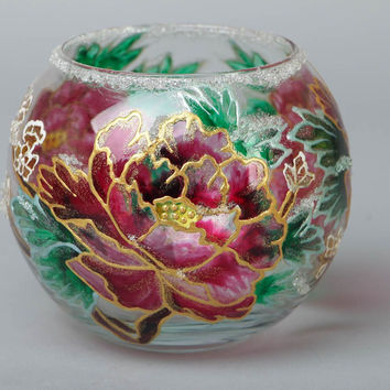 Handmade painted glass Flower vase Eco friendly Home decoration design Gift idea