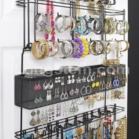 New! Overdoor Wall Longstem Jewelry Organizer Valet in Black - Holds over 300 pieces! Unique patented product - Rated Best!