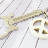Guitar Keychain, Bottle Opener, Guitar Bottle Opener, Peace Sign Keychain, Car Accessory