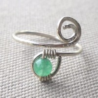 Jade Wrapped Hammered Silver Wire Spiral Toe Ring or Knuckle Ring